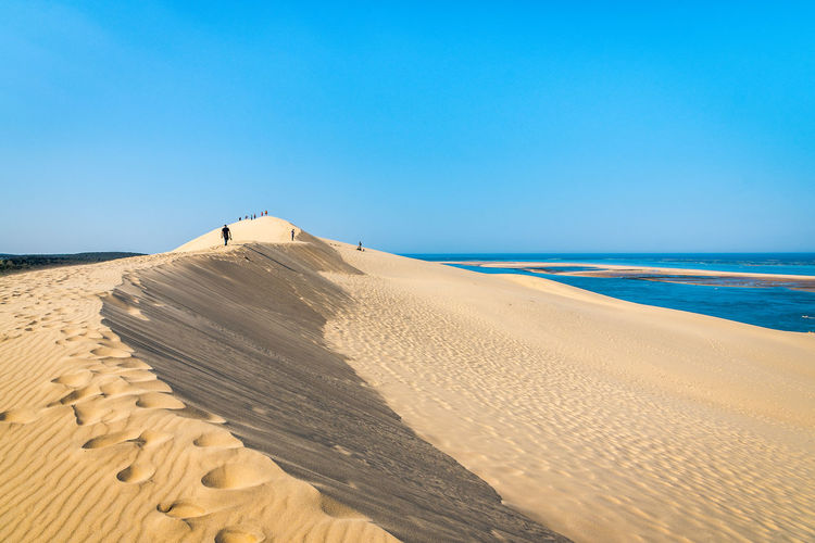 Sand Land Scenics - Nature Sky Beach Tranquil Scene Tranquility Beauty In Nature Clear Sky Water Nature Copy Space Sand Dune Sea Horizon Non-urban Scene Day Desert Blue Climate No People Arid Climate Horizon Over Water