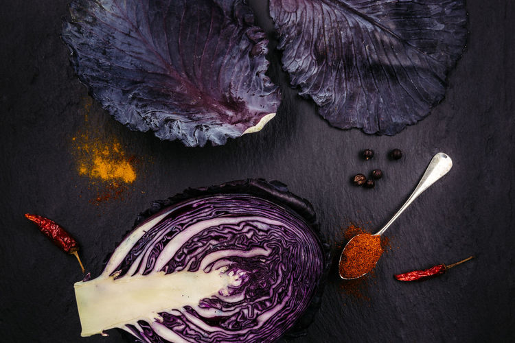 High Angle View Of Red Cabbage On Stone