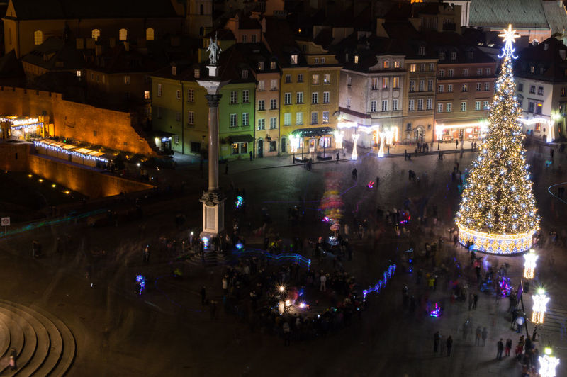 Poland Warsaw Europe Illuminated Night City Architecture Building Exterior Built Structure Street Motion Reflection Transportation Lighting Equipment Outdoors Building Incidental People Mode Of Transportation High Angle View Celebration Holiday Travel Destinations Nightlife