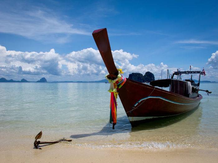 Beauty In Nature Blue Boat Boatarde Cloud Cloud - Sky Day Idilic Idyllic Leisure Activity Lifestyles Nature Nautical Vessel Outdoors Scenics Shore Sky Thailand Tranquil Scene Tranquility Water