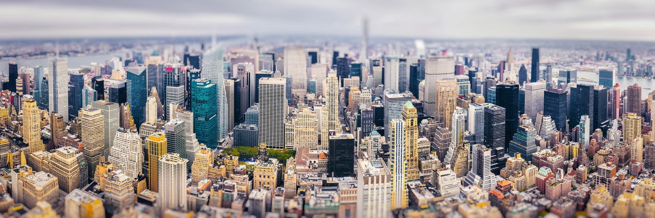 Tilt-shift image of crowded cityscape