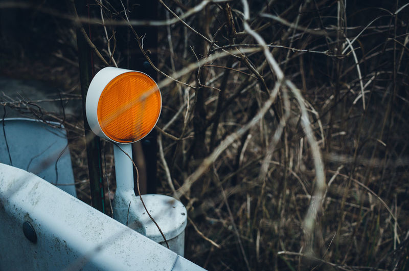 Japan Still Life Abstract Colors Color Redefining Minimal Minimalism Simple Simplicity Getting Inspired Rusty Faded Abandoned No People Close Up Close-up Orange Color Road Sign Reflection Branches Outdoors Countryside My Best Photo