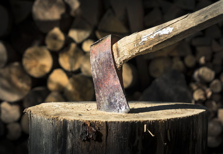 Close-up of ax with nice wooden background. Ax Axe Close-up Day Evening Sun Hatchet Light And Shadow Log No People Outdoors Stuck Summer Summertime Tree Stump Wood Wood - Material Wooden Work