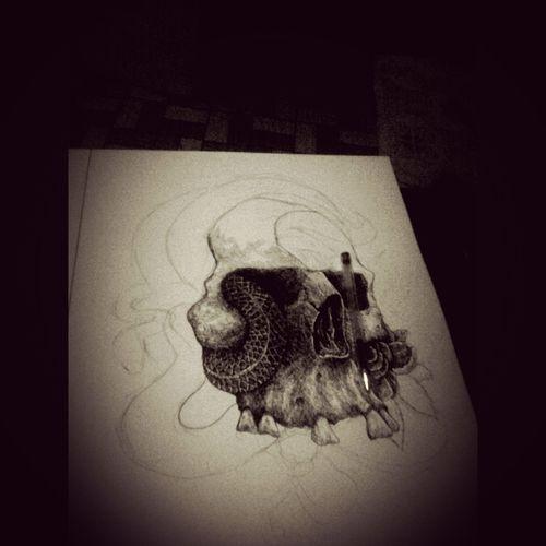 Illustration ArtWork My Inking Progress Skull Face Stippling#artwork#illustration#pen#pencil#blackandwhite#drawing