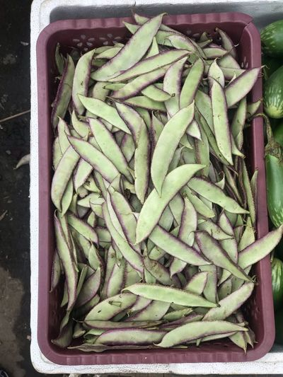 High angle view of vegetables in crate