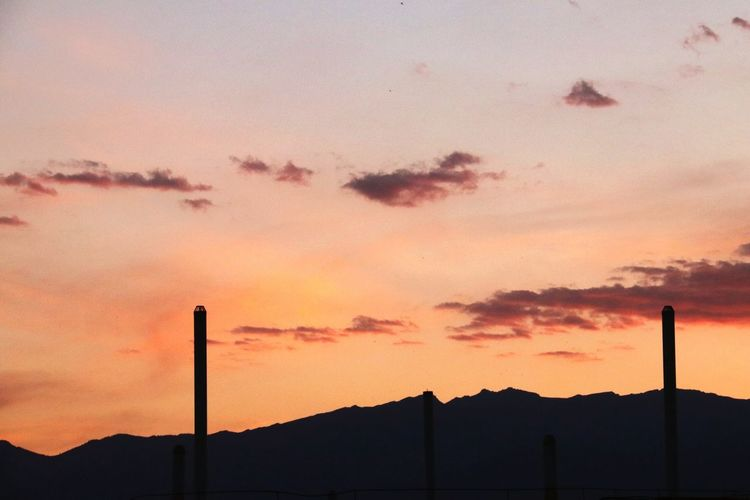 Mountain Sunset Oil Pump Smoke Stack Silhouette Factory Dramatic Sky Sky Landscape