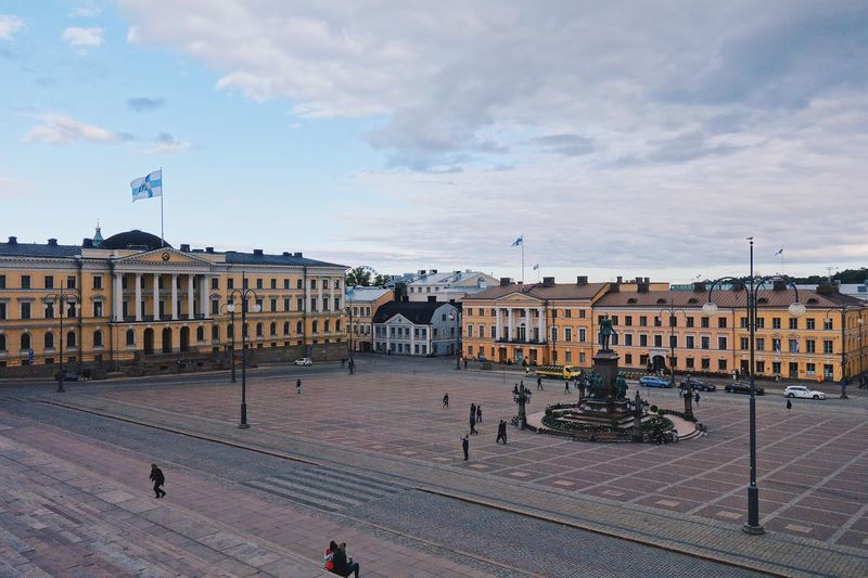 View of senaatintori senate square in helsinki, finland