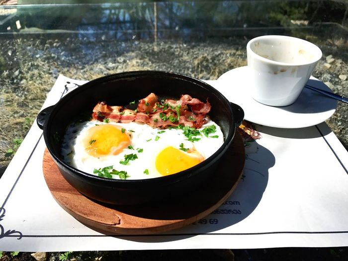 Breakfast Breakfast Time Morning Coffee Food Healthy Eating Ready-to-eat Food And Drink Outdoors Egg Yolk