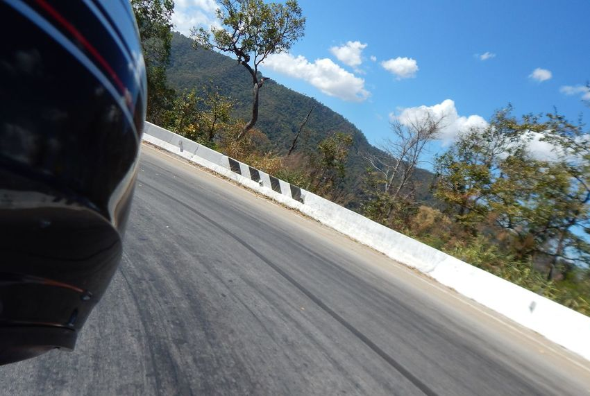 Motorcycle Helmet Low Angle View Close-up Speed Bend In The Road Spectacular View Thrill Excitement Travel Cloud - Sky Blue Special Place Road Maehongson Thailand