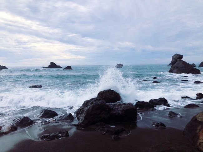 Landscape_Collection Nature Rock - Object Landscape Sea Sky Wave Water Beauty In Nature Motion Horizon Over Water Power In Nature Rock Force Hitting No People Crash Scenics Cloud - Sky Breaking Day Outdoors