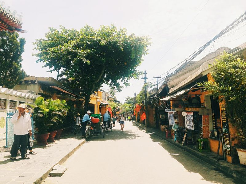Clear Sky Tree Day Sky Footpath Town Narrow Outdoors EyeEm Vietnam Taking Photos Travel EyeEm Best Shots Eyeemphotography Vscovietnam VSCO Vietnam Public Transport Cyclo Hoian  Hoian Architecture Ancient Ancienttown HoiAnancienttown