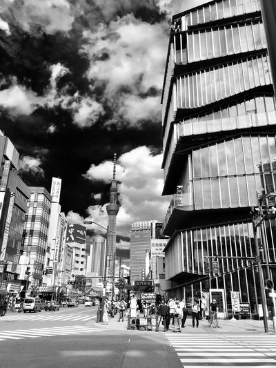 Street Sky Road Architecture Building Exterior Built Structure City Cloud - Sky Outdoors City Street City Life Day Travel Destinations Real People Large Group Of People People TOKYO
