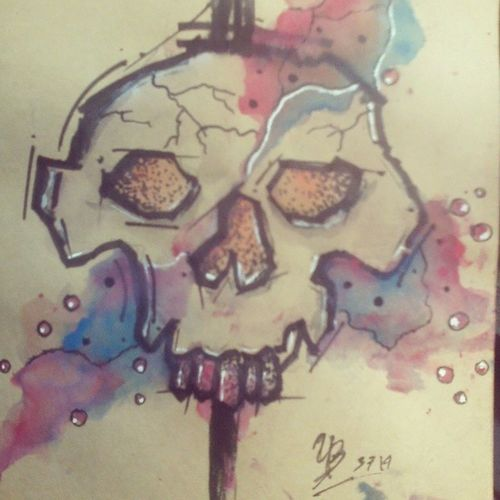 Abstract ArtWork Watercolor Colorfull Skull Tattooflash ink
