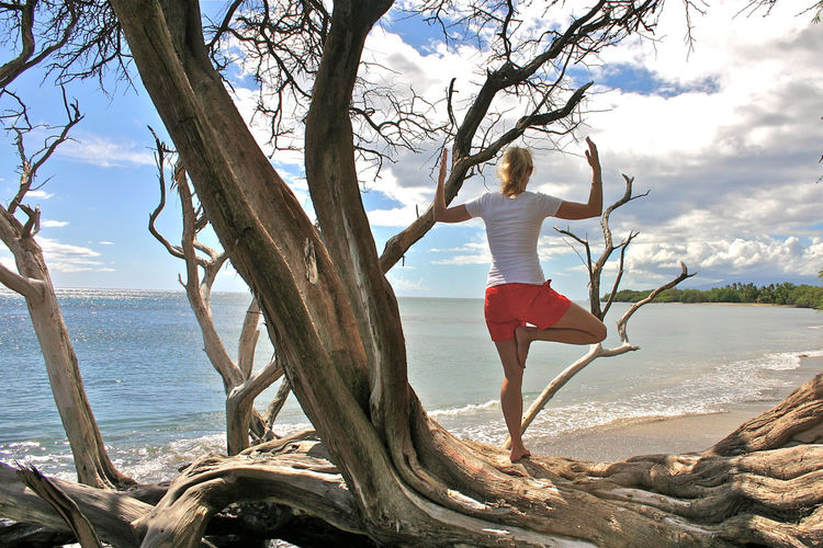 Beauty In Nature Cloud Cloud - Sky Day Leisure Activity Outdoors Shore Sky Tranquil Scene Tranquility Tree Tree Pose Tree Pose On A Tree Water Yoga Yoga Pose