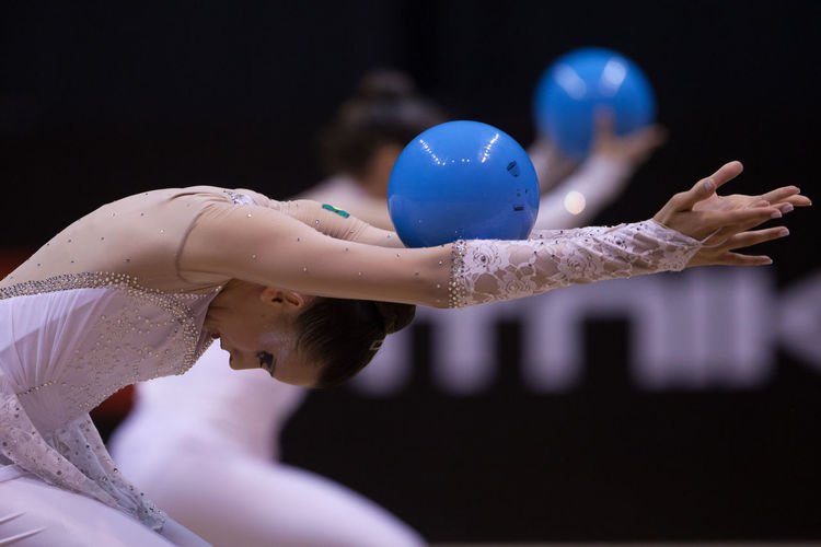 athletes performs a performance during a Pan American Rhythmic Gymnastics Championship Argentina Balance Ball Beautiful Discipline Gym Gymnastics Hand Perfection Real People Rhythmic Gymnastics Sport Woman