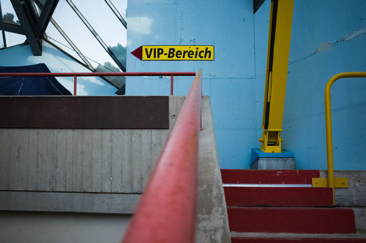 Very close to the VIP-Area Architecture Close-up Colorful Communication Day Guidance No People Outdoors Text Vip Yellow