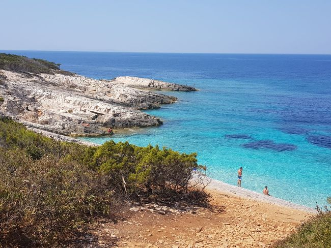 Beach Sea Water Sand Horizon Over Water Nature Clear Sky Sky Real People Vacations Beauty In Nature Blue Water Paradise Love Kroatia Health Spa Happyness Swimming Korčula Tranquility Clear Sky Travel Destinations Balance Vacations Paradise Beach