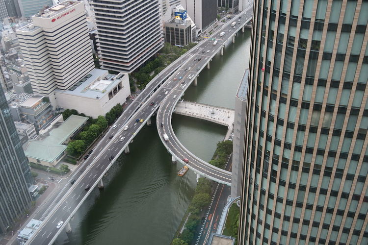 High Angle View Of Bridge Over Canal In City