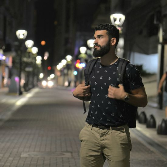 City Men Wireless Technology Males  Beard City Life Street City Street Portable Information Device Young Men
