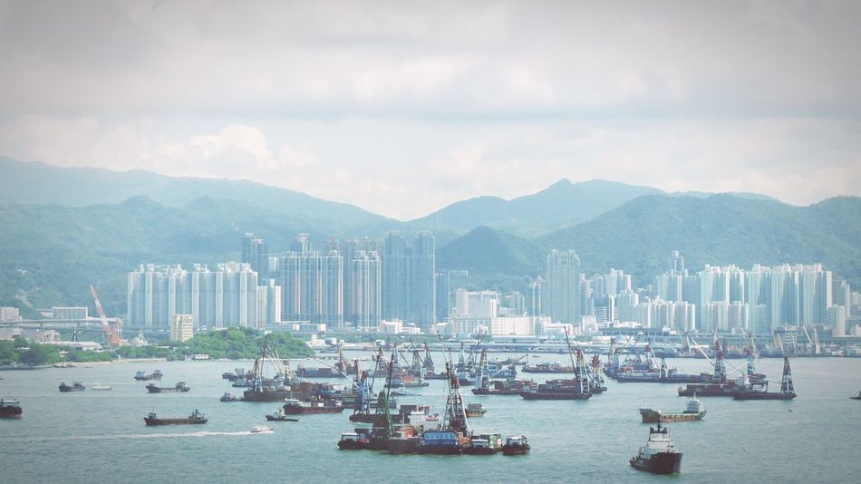 HongKong Hongkong Bay Hongkong In Summer Boats Town City Sea Bay Comunication Transportation Water Transportation Cargo Ship Trade Water Travel Landscape Original Experiences Feel The Journey