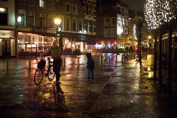 Bike Christmas Lights Darkness And Light Haarlem Holland Netherlands Night Pavement Rainy Silhouette Streetphotography Wintwer