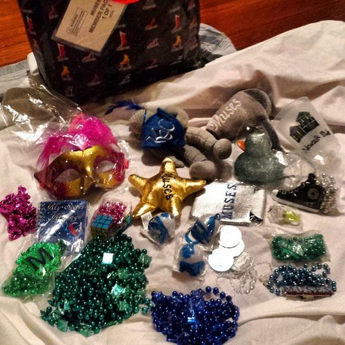 Some of my collection from parade hopping around town tonight. It was chilly out though. Almost had to break out a sweatshirt! Muses Parades Mardigras2015 Neworleans Louisiana city stuff
