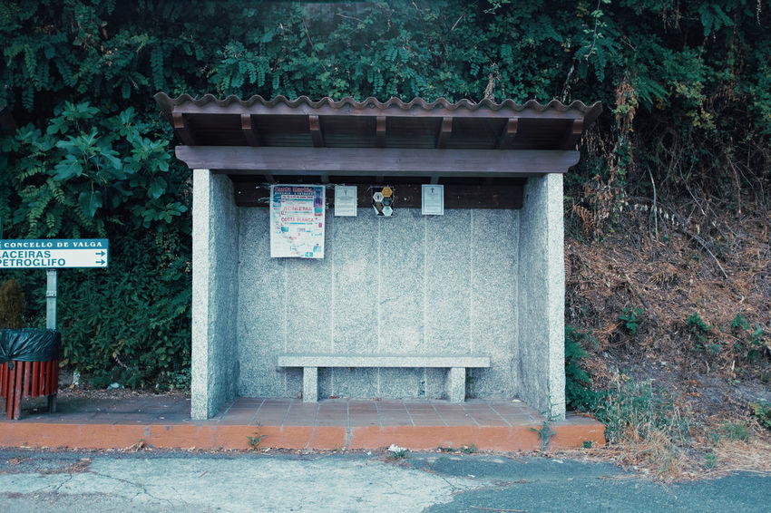 LOST IN GALICIA 🚌 Lostingalicia Threeweeksgalicia Architecture Plant Built Structure Day Tree Nature Outdoors Communication Text No People Building Exterior Sign Non-western Script Western Script Script Building Entrance Information Information Sign Growth Shrine Message Galicianbusstops