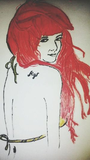 Frustrated to have a red long hair, so I just draw myself and feel like it'a true. Hahahaha. LoL. Drawing101. KynaRedHair.