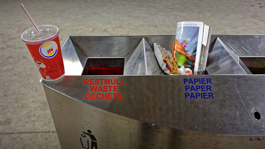 Waste & Paper Hannover Germany 2012 Mülleimer Public Waste Separation Restmüll Und Papier Waste & Paper Hannover Germany Container Food And Drink Recent Trashcan Öffentliche Mülltrennung