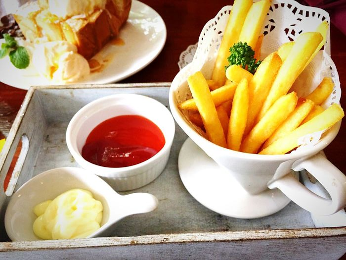 French Fries Tomatosauce Food And Drink Freshness Fast Food Food