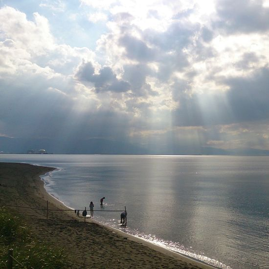 Water Sea Tranquility Tranquil Scene Scenics Beauty In Nature Beach High Angle View Calm Nature Idyllic Sky Sunbeam Shore Cloud Ocean Vacations Cloud - Sky Summer Coastline