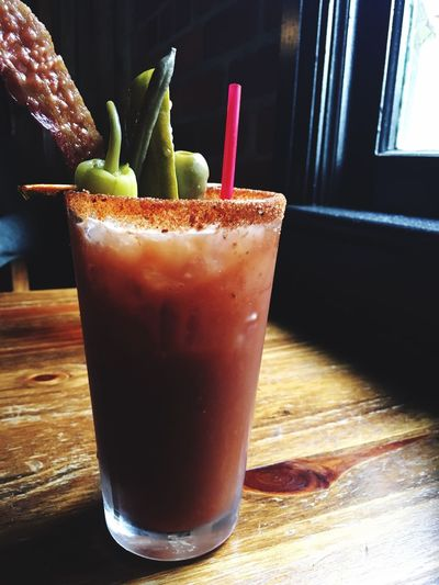 Loaded Bloody Mary Bloody Mary Cocktails Window Light Bacon