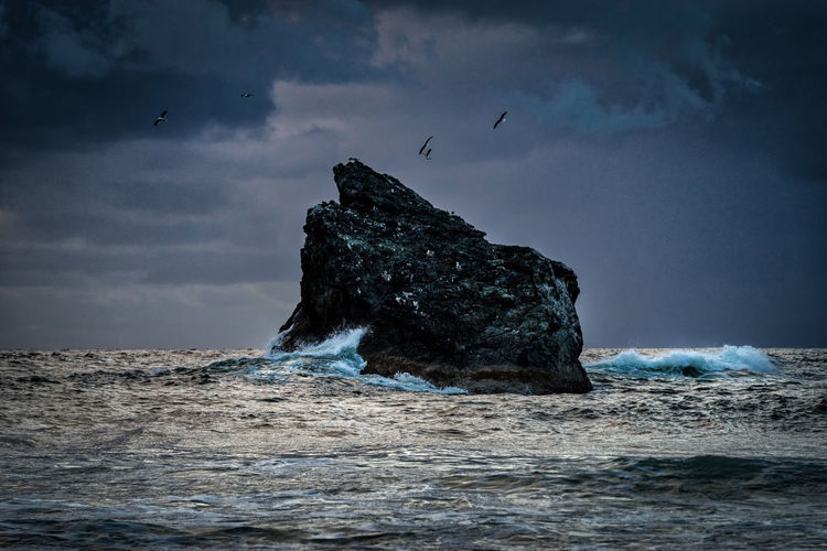 Storm clouds and waves hitting a rock Storm Animal Animal Themes Animal Wildlife Beauty In Nature Bird Birds Cloud - Sky Flying Land Nature No People Outdoors Rock Rock - Object Rock Formation Scenics - Nature Sea Sky Stack Rock Storm Cloud Storm Clouds Water Waves Waves, Ocean, Nature