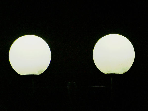 Two moon Colour White Dobble Beleuchtung Night Lights Illumination Nightphotography Nachtfotografie Lampe Lamp Two Objects Black Color Circle No People Close-up Black Background Night Outdoors