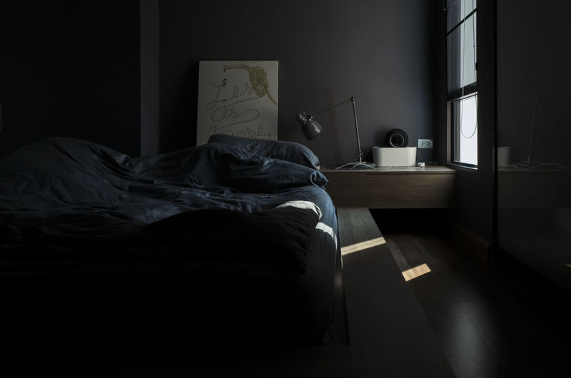 Furniture Bed Bedroom Domestic Room Indoors  Absence Pillow Home Interior No People Comfortable Linen Sheet Textile Blanket Relaxation Stuffed Dark Building Window Day Messy Cozy Duvet Electric Lamp