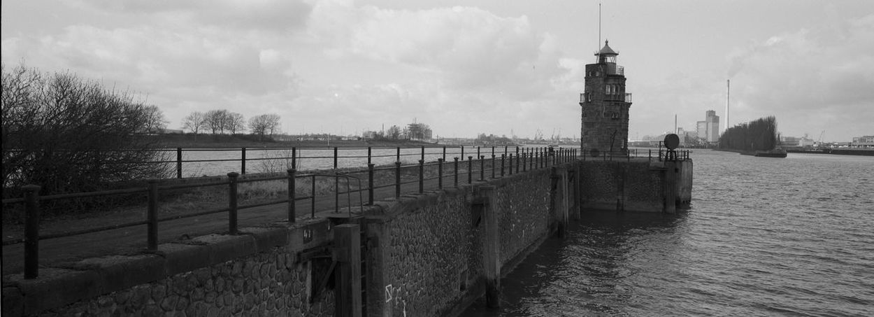 B&w Black And White Film Photography Freighter Harbor Harbour Lighthouse Panorama Pier Port Quayside Sea