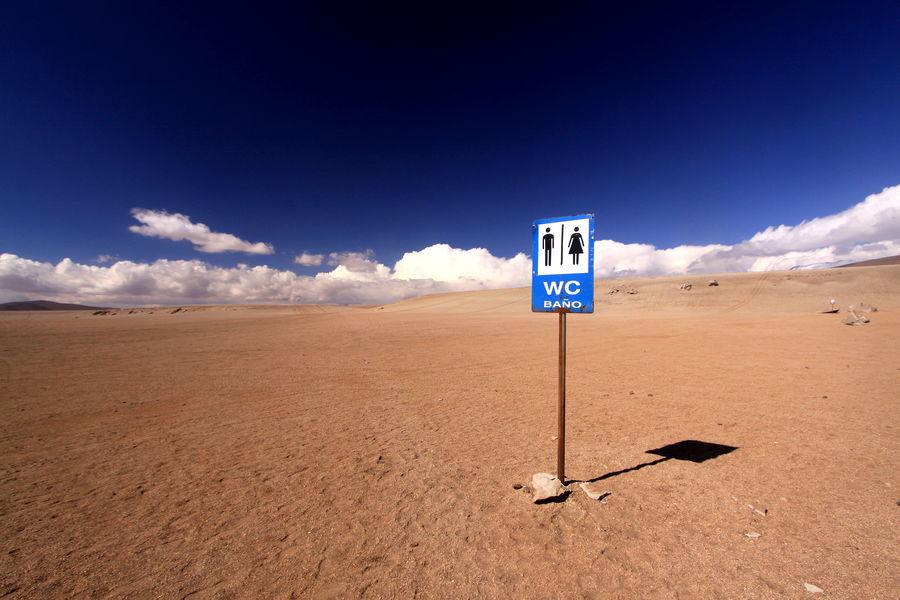 Toilet in the Desert of Siloli, Bolivia Baño  Bolivia Bolivian Altiplano Desert Of Siloli Empty Places Altiplano Arid Climate Blue Sky Cloud - Sky Comic Comical Desert Beauty Desert Landscape Empty Open Outdoors Rediculous Remote Sand Sand Dune Sandy Desert Sign Board Sign For Toilet Sky Wc