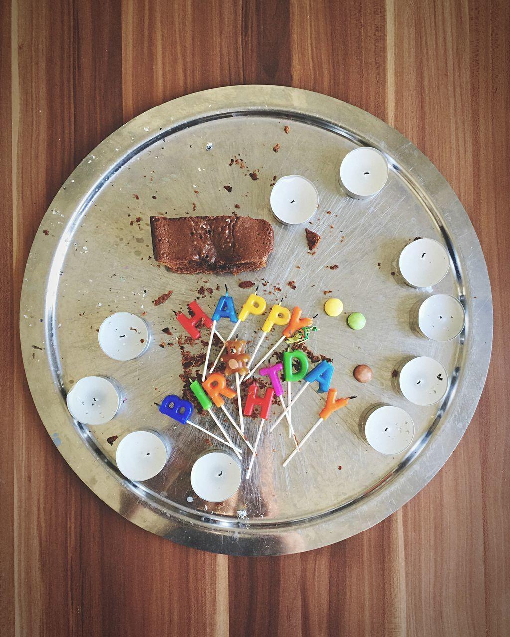 Leftovers Of Birthday Cake On Tray