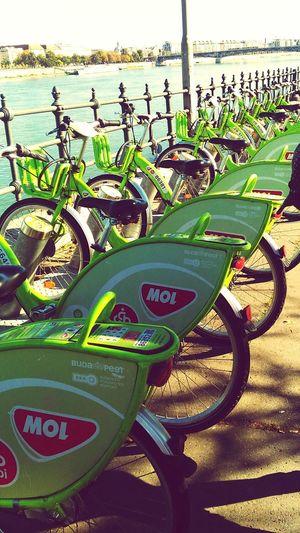 CyclingUnites Bubi Budapest Mol Bicycles Bicycle Parking Bicyclelife Green Green Color River