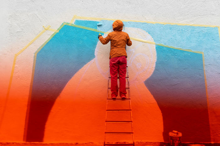 Gradient Color Gradient Wall - Building Feature Wall Colors Colours Colorful Real People Rear View One Person Full Length Standing Architecture Mural Ladder Graffiti Paint Roller Vandalism Renovation DIY Step Ladder Street Art Painter - Artist