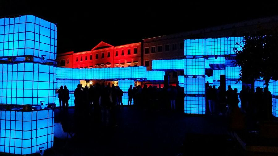 Night Nightphotography Night Lights Blue Red Party Party Time Dessau People Street Streetphotography Bauhaus Farbfest Blau Blomqvist Color Colors Colorful Nofilter Nofilterneeded City City Life Lifestyles Dark Darkness And Light The Street Photographer - 2018 EyeEm Awards HUAWEI Photo Award: After Dark