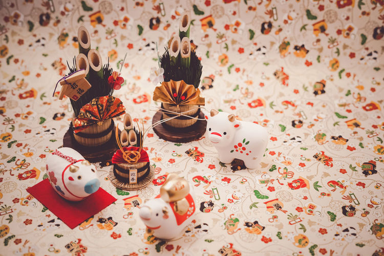High angle view of candies on table