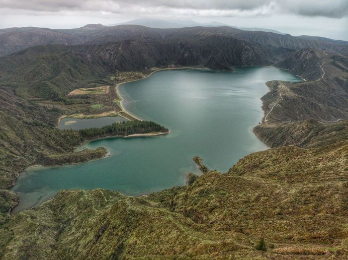 Aerial view of the fire lagoon in azores