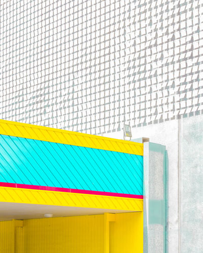 Asymmetrical Bright Colourful Grid Pastel Power The Graphic City Urban Geometry Architecture Building Exterior Built Structure Close-up Day Geometric Shape Geometry Multi Colored No People Outdoors Pastel Repetition Yellow