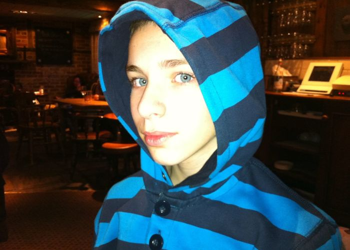 Blue Clothing, Striped, Striped Clothing Blue Eyes Boy, Male Casual Clothing Child, Childhood, Children's Portraits Domestic Life Headshot Indoors  Lips, Red Lip Person Pub, Darklit, Backlit, Dark Lit, Back Smiling Stripes, Light Blue, Dark Blue Young Adult