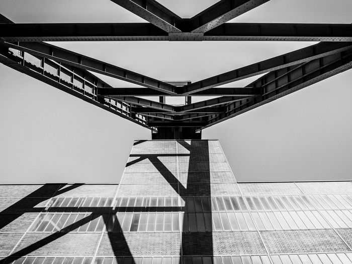 Zeche Zollverein Architecture Built Structure Low Angle View No People Day Sky Connection Bridge Building Exterior Nature Clear Sky Metal Outdoors Directly Below Architectural Column Tall - High Roof Modern Shadow Office Building Exterior Steel Ceiling Alloy Essen Germany Coal Mine Mining Mining Industry