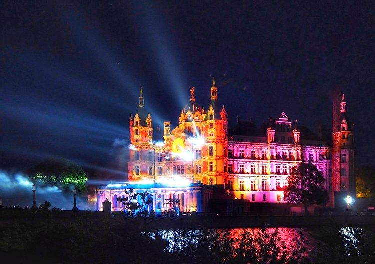 Castle Schwerin Illuminated Architecture Cityscape Arts Culture And Entertainment Nightlife Night Water Travel Destinations Urban Skyline