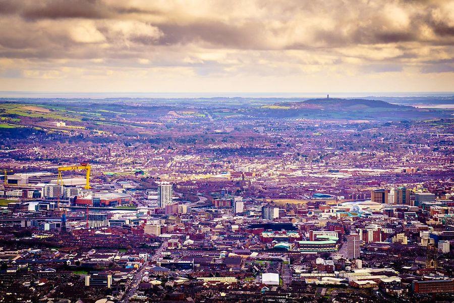 Belfast from Divis Mountain. Belfast Northern Ireland County Antrim