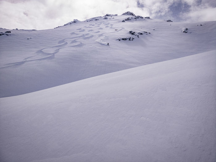 Powder Skiing Off Piste Mountain Cold Temperature Winter Adventure Snowcapped Mountain Polar Climate Point Of View Rural Scene Dramatic Landscape Deep Snow Powder Snow Ski Track Extreme Weather Ski Slope Rock Formation Go Higher
