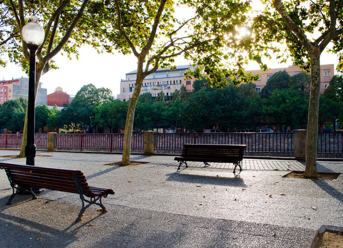 Autumn Bench Benches Catalonia Catalunya Embankment Empty Footpath Girona Melancholic Landscapes Old Sity Outdoors Park Park - Man Made Space Park Bench Relaxing Time Resting Shadow Sity SPAIN The Way Forward Tourist Attraction  Tree Tree Trunk Walkway